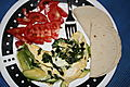 Spinach-avo egg whie omelet 8-31-2008