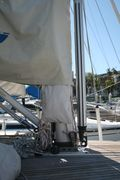 Sheet purse at mast - top covered by main sail